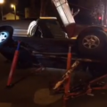 Car Impaled by Metal Poles