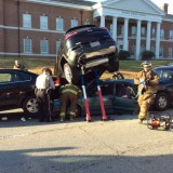 SUV on top car